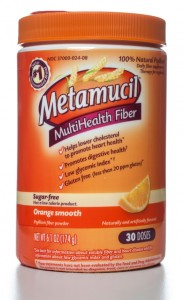 Metamucil Multihealth Fiber Orange Smooth 30 doses jar. Metamucil brand is owned by Procter and Gamble.